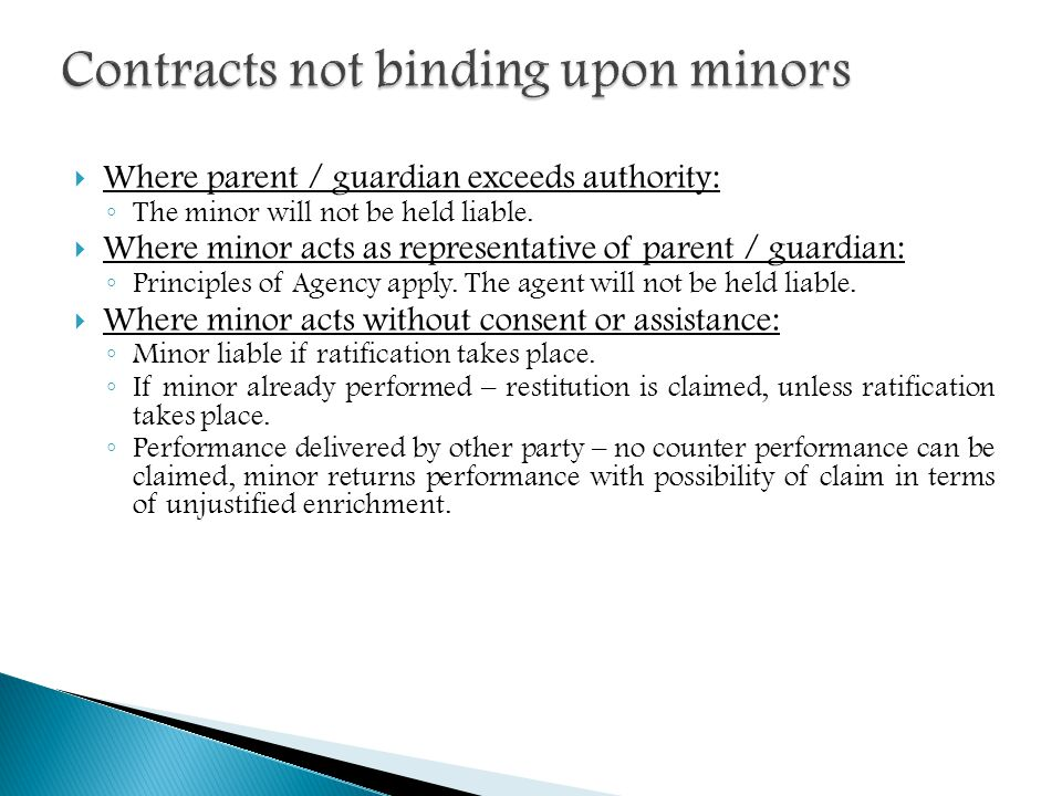 Contracts not binding upon minors