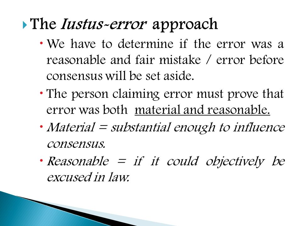 The Iustus-error approach