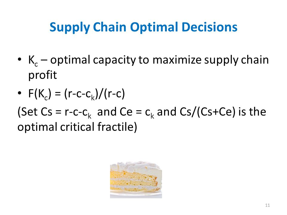 Supply Chain Optimal Decisions