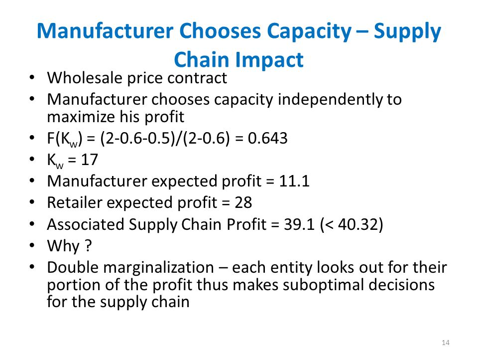 Manufacturer Chooses Capacity – Supply Chain Impact