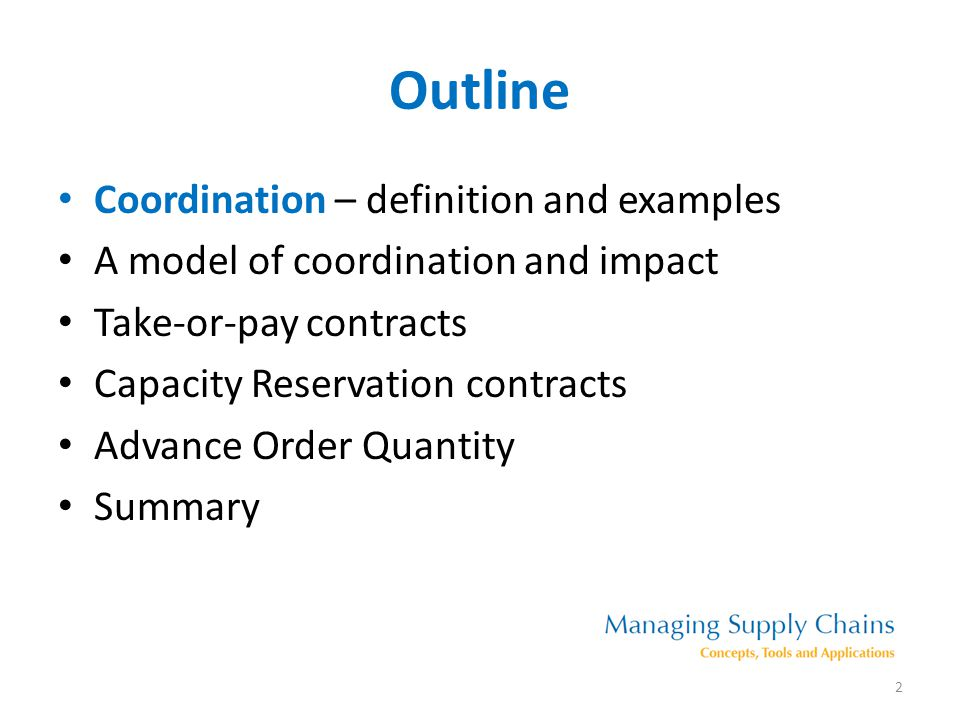 Outline Coordination – definition and examples