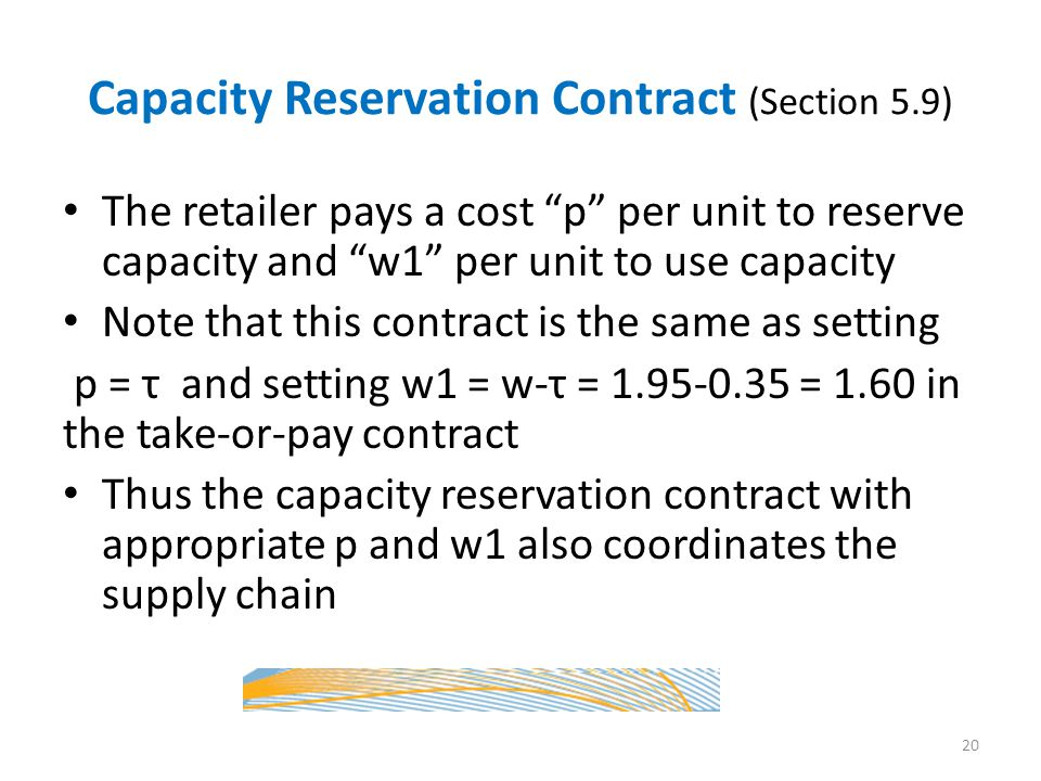 Capacity Reservation Contract (Section 5.9)