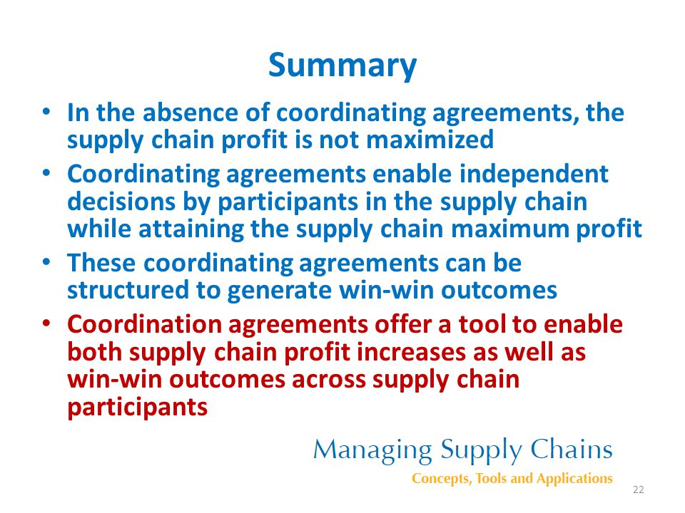 Summary In the absence of coordinating agreements, the supply chain profit is not maximized.
