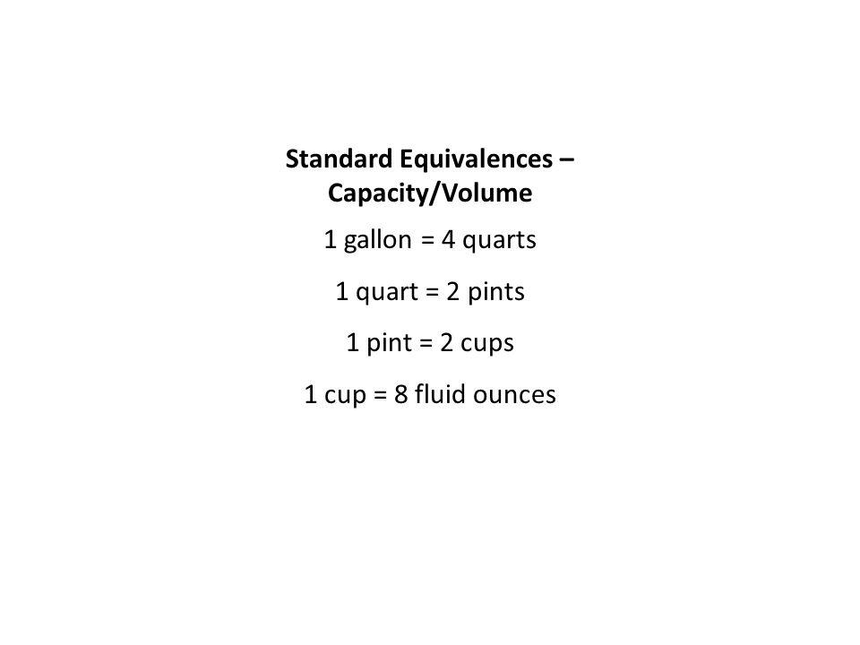 Standard Equivalences – Capacity/Volume