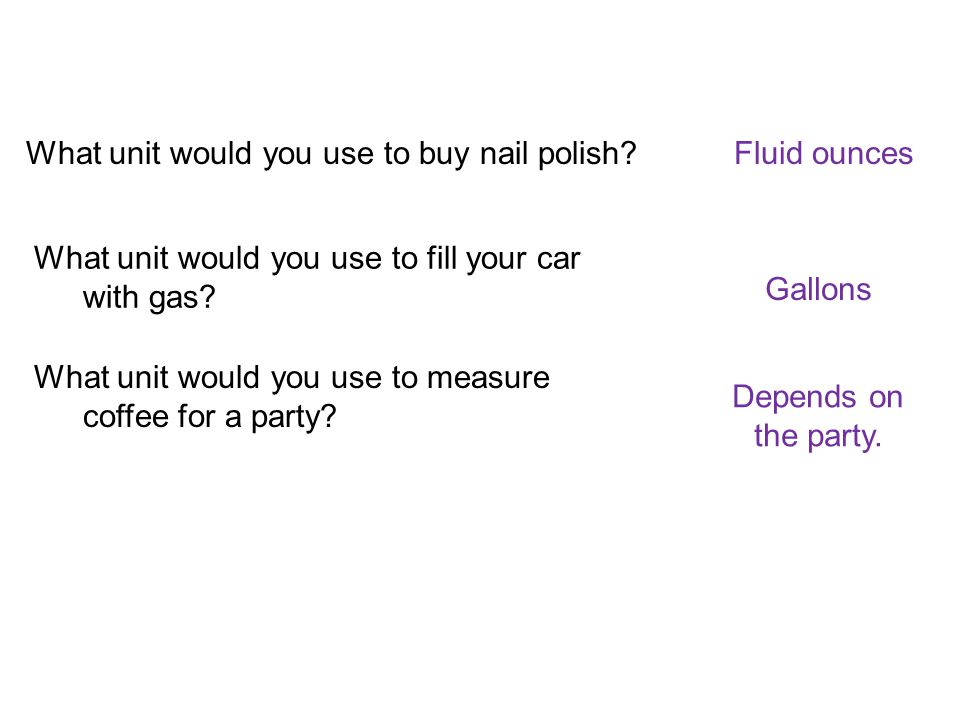 What unit would you use to buy nail polish