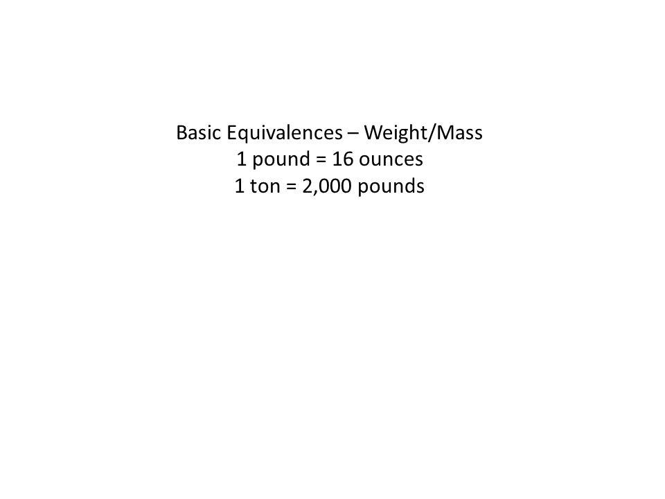 Basic Equivalences – Weight/Mass