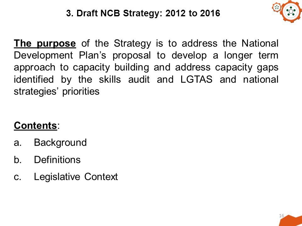 3. Draft NCB Strategy: 2012 to 2016