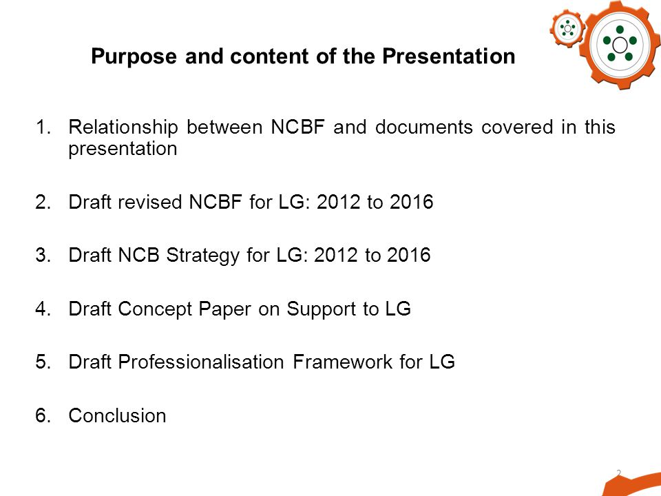 Purpose and content of the Presentation