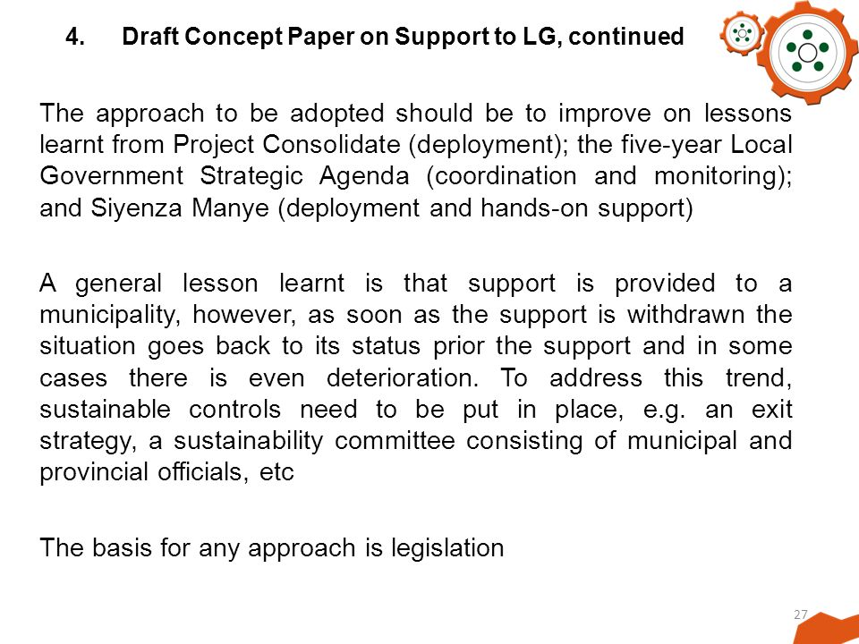 4. Draft Concept Paper on Support to LG, continued
