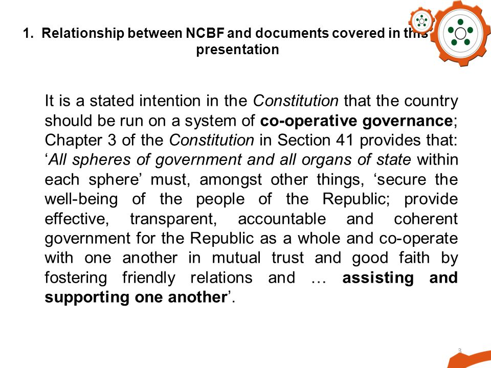 1. Relationship between NCBF and documents covered in this presentation