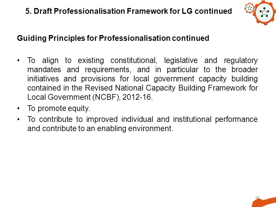 5. Draft Professionalisation Framework for LG continued