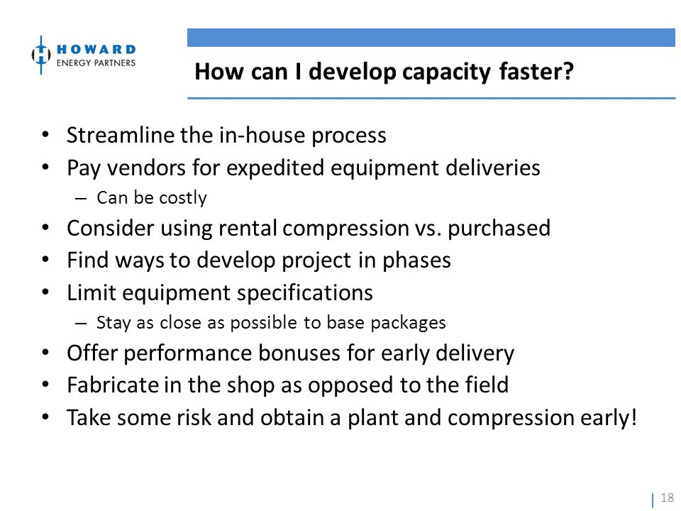 How can I develop capacity faster