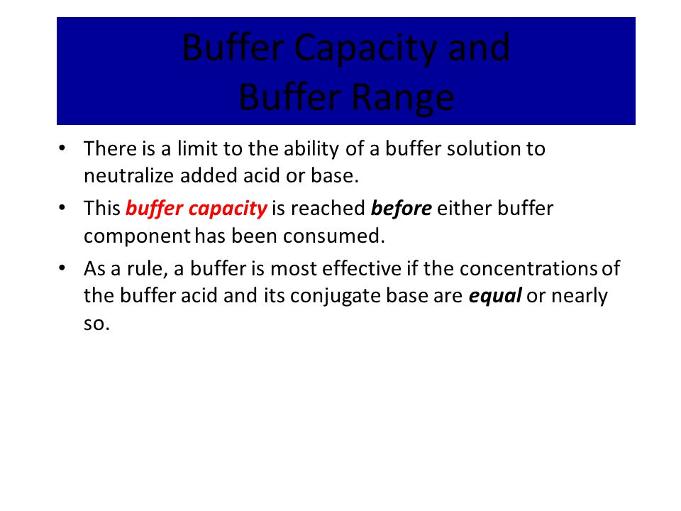Buffer Capacity and Buffer Range
