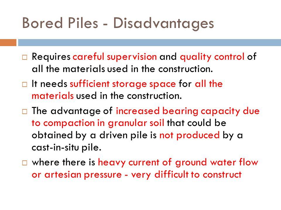 Bored Piles - Disadvantages