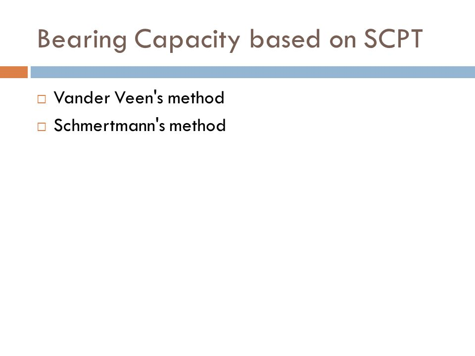 Bearing Capacity based on SCPT