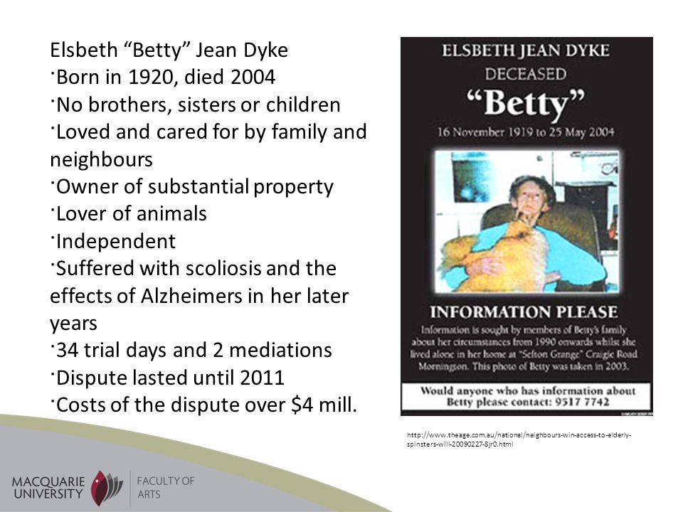 Elsbeth Betty Jean Dyke Born in 1920, died 2004