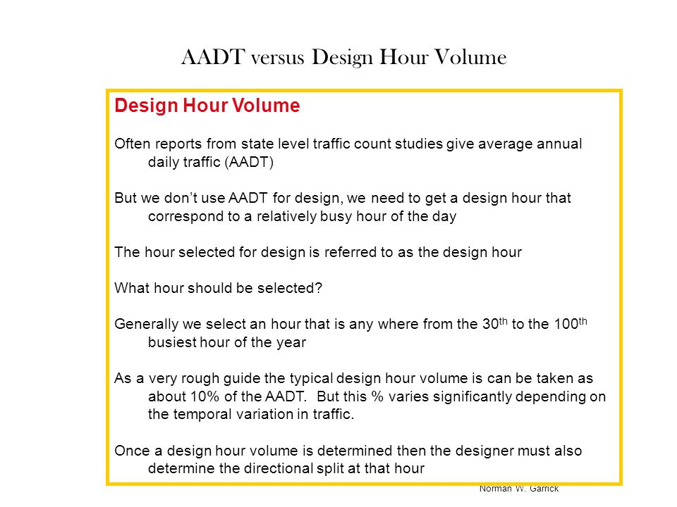 AADT versus Design Hour Volume