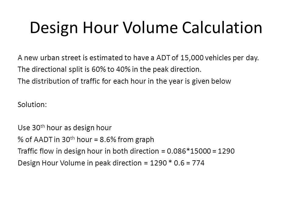 Design Hour Volume Calculation