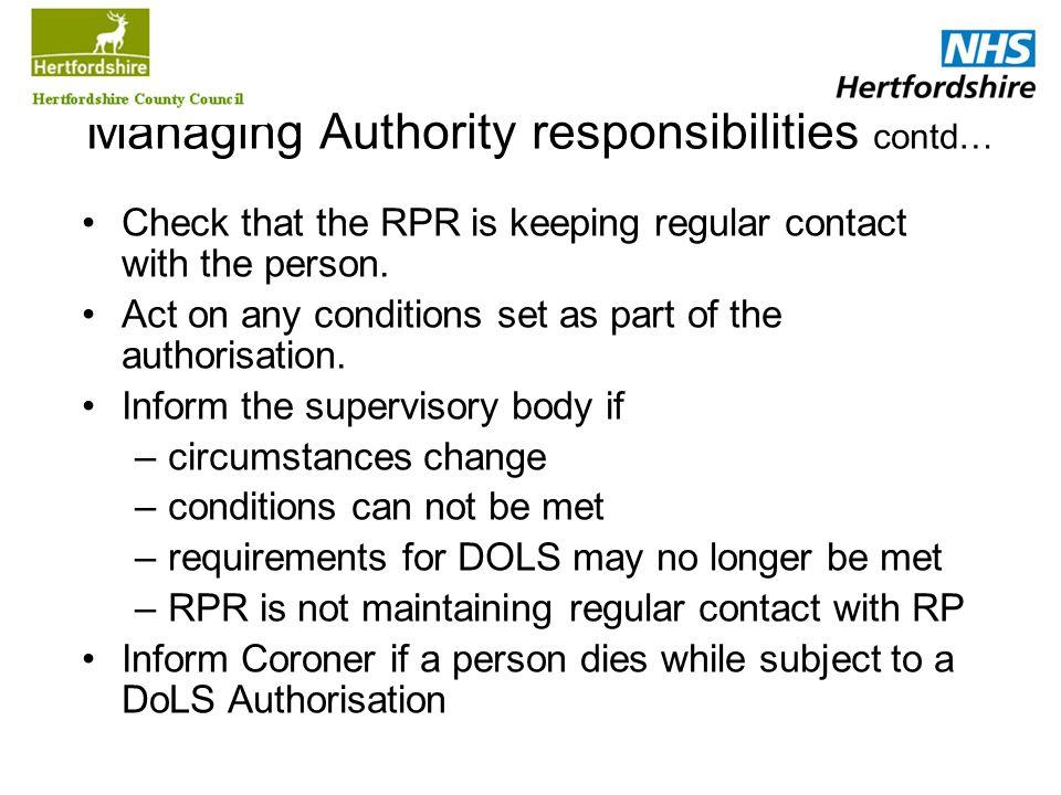 Managing Authority responsibilities contd…