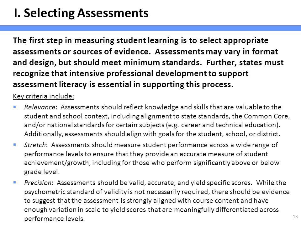 I. Selecting Assessments