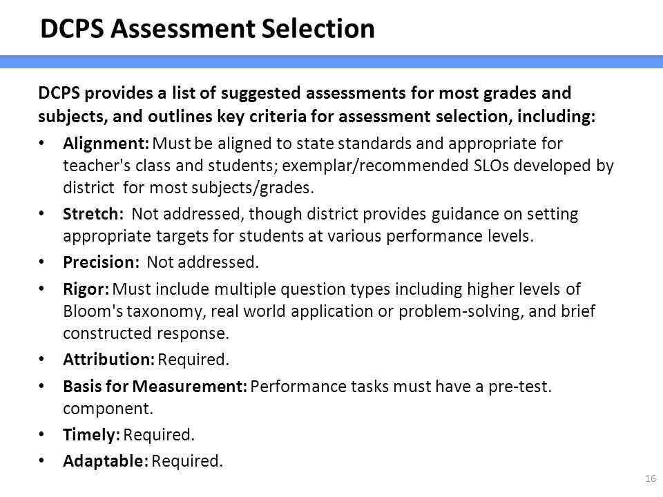 DCPS Assessment Selection