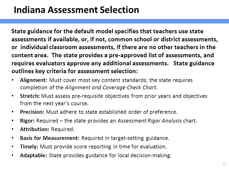 Indiana Assessment Selection