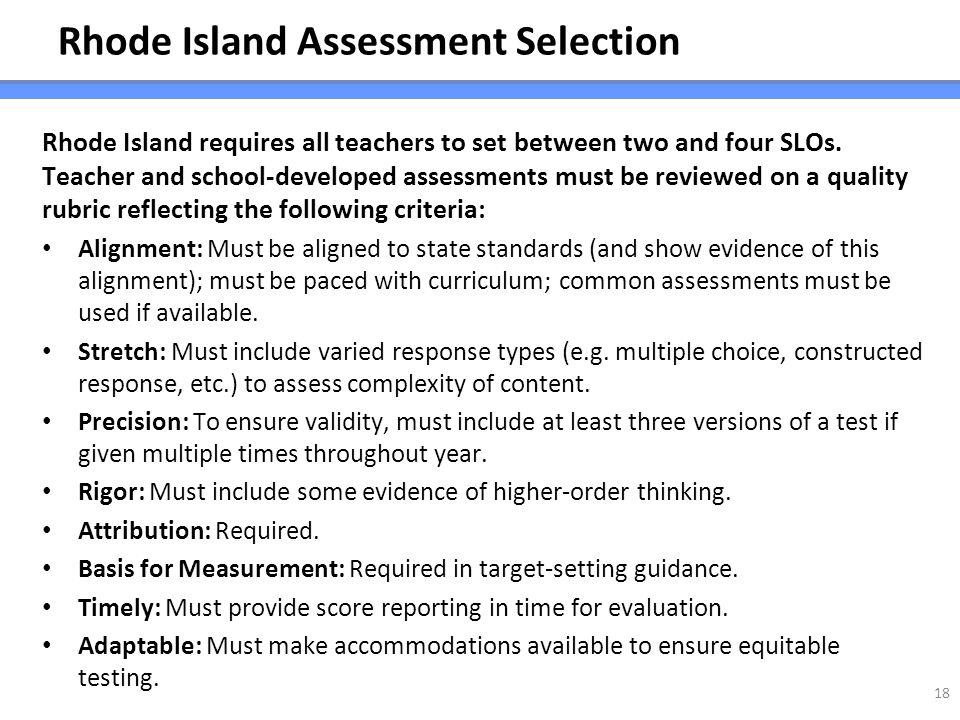 Rhode Island Assessment Selection