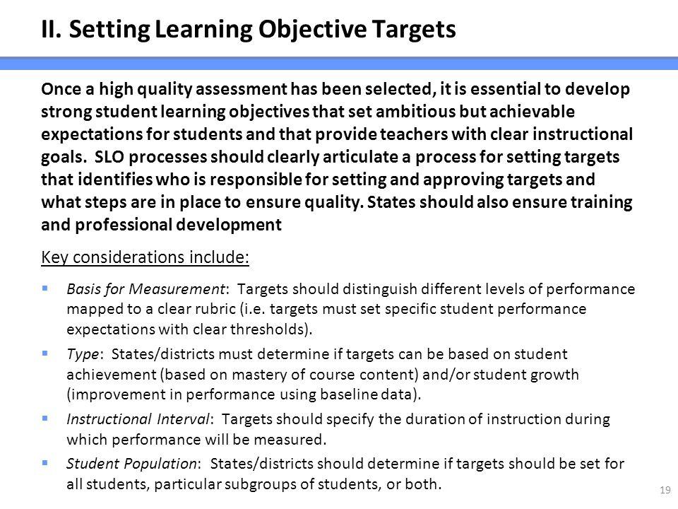 II. Setting Learning Objective Targets
