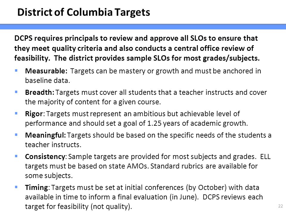 District of Columbia Targets