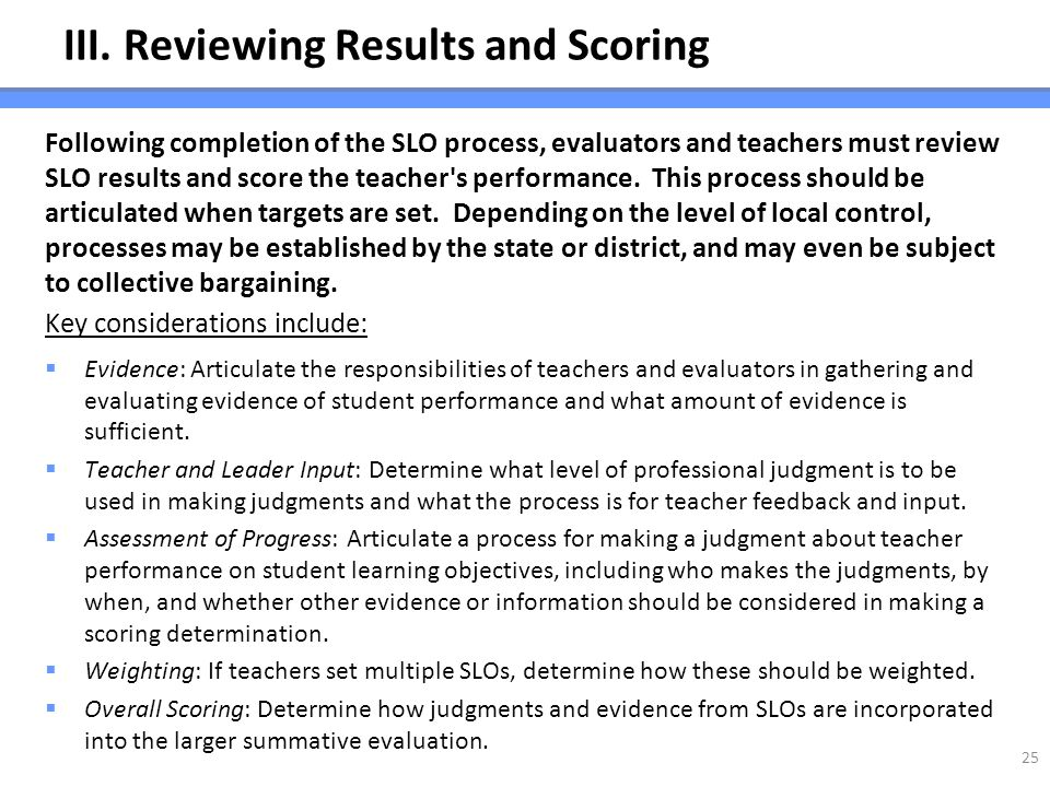 III. Reviewing Results and Scoring