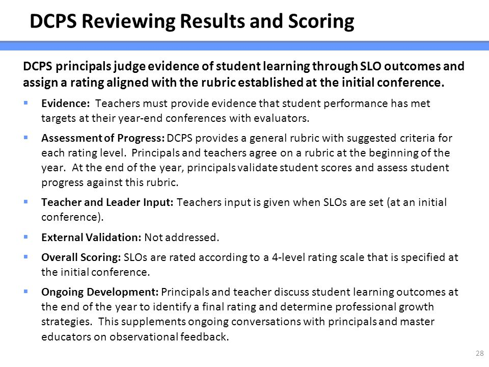 DCPS Reviewing Results and Scoring