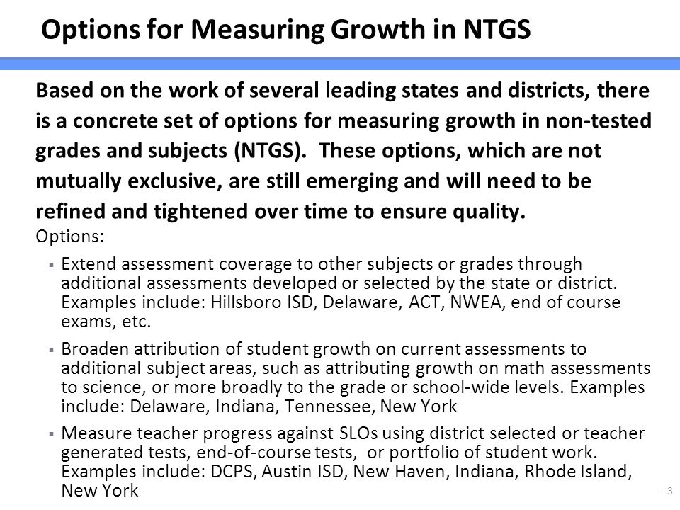 Options for Measuring Growth in NTGS