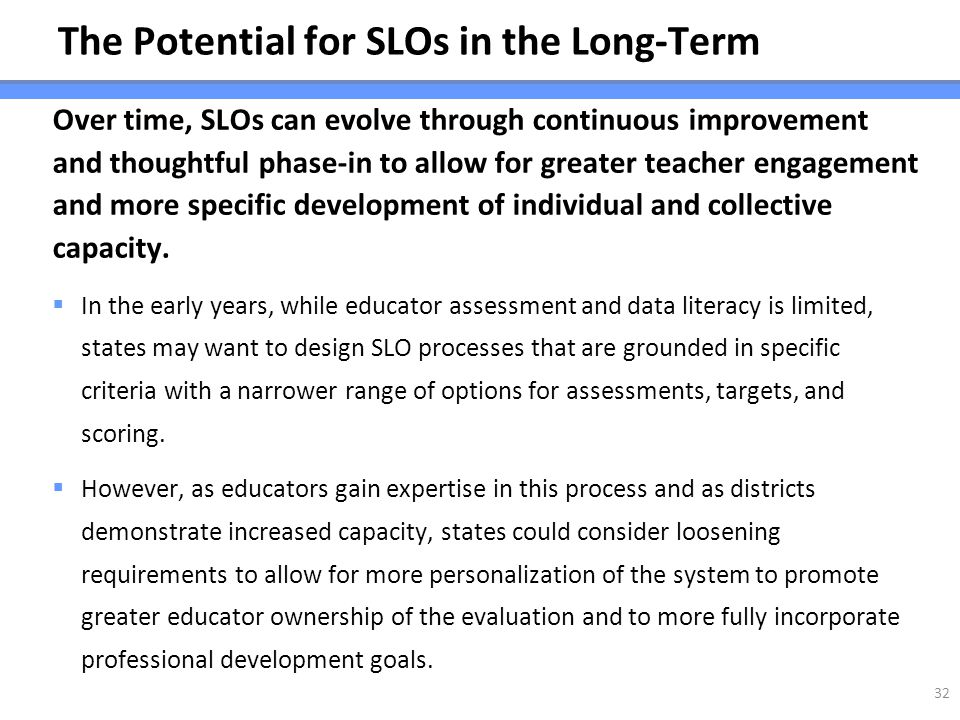 The Potential for SLOs in the Long-Term