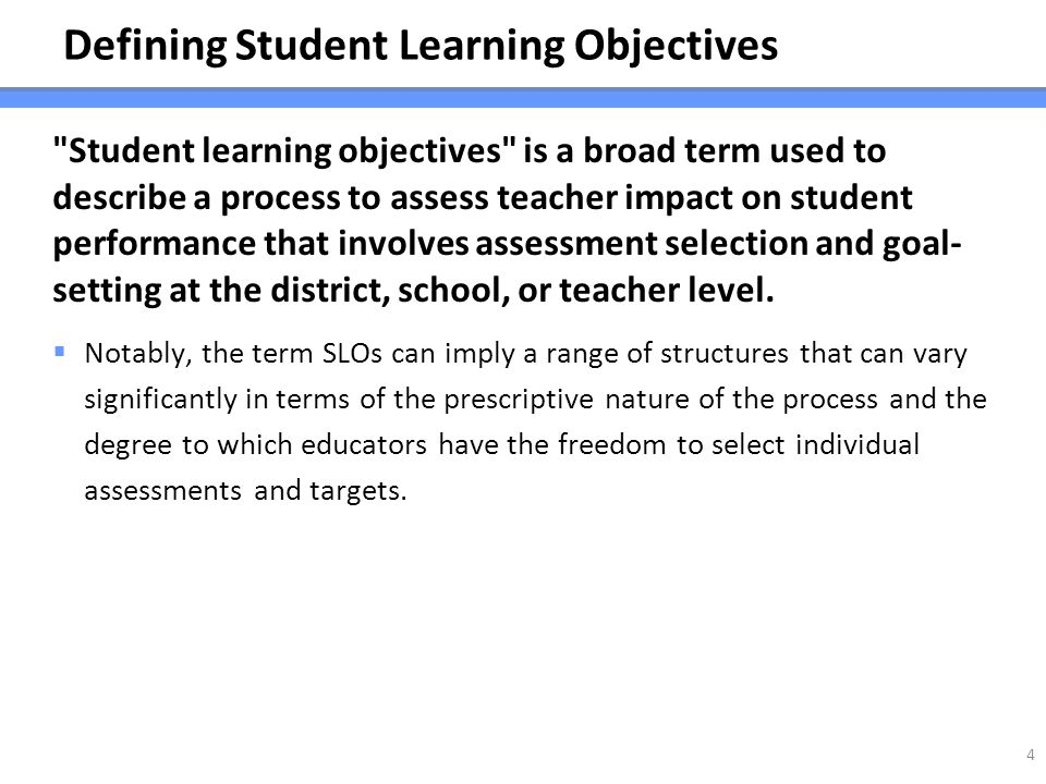 Defining Student Learning Objectives