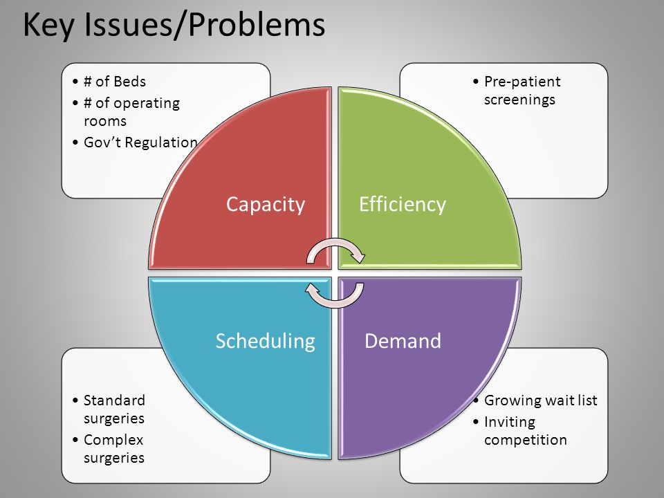 Key Issues/Problems Capacity # of Beds # of operating rooms
