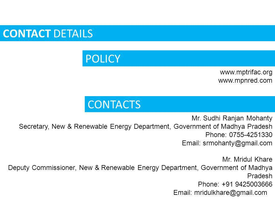 CONTACT DETAILS POLICY CONTACTS www.mptrifac.org www.mpnred.com
