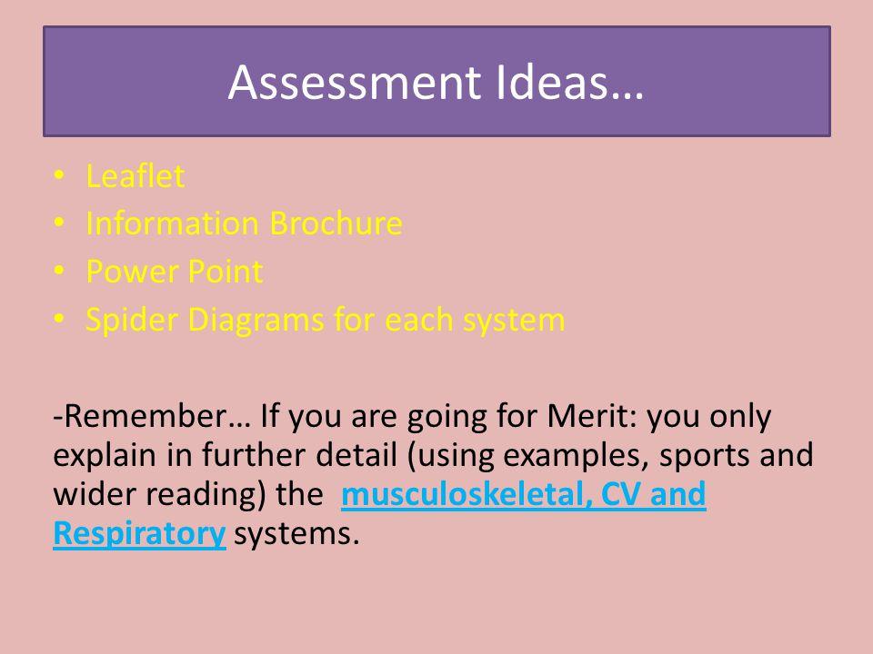 Assessment Ideas… Leaflet Information Brochure Power Point