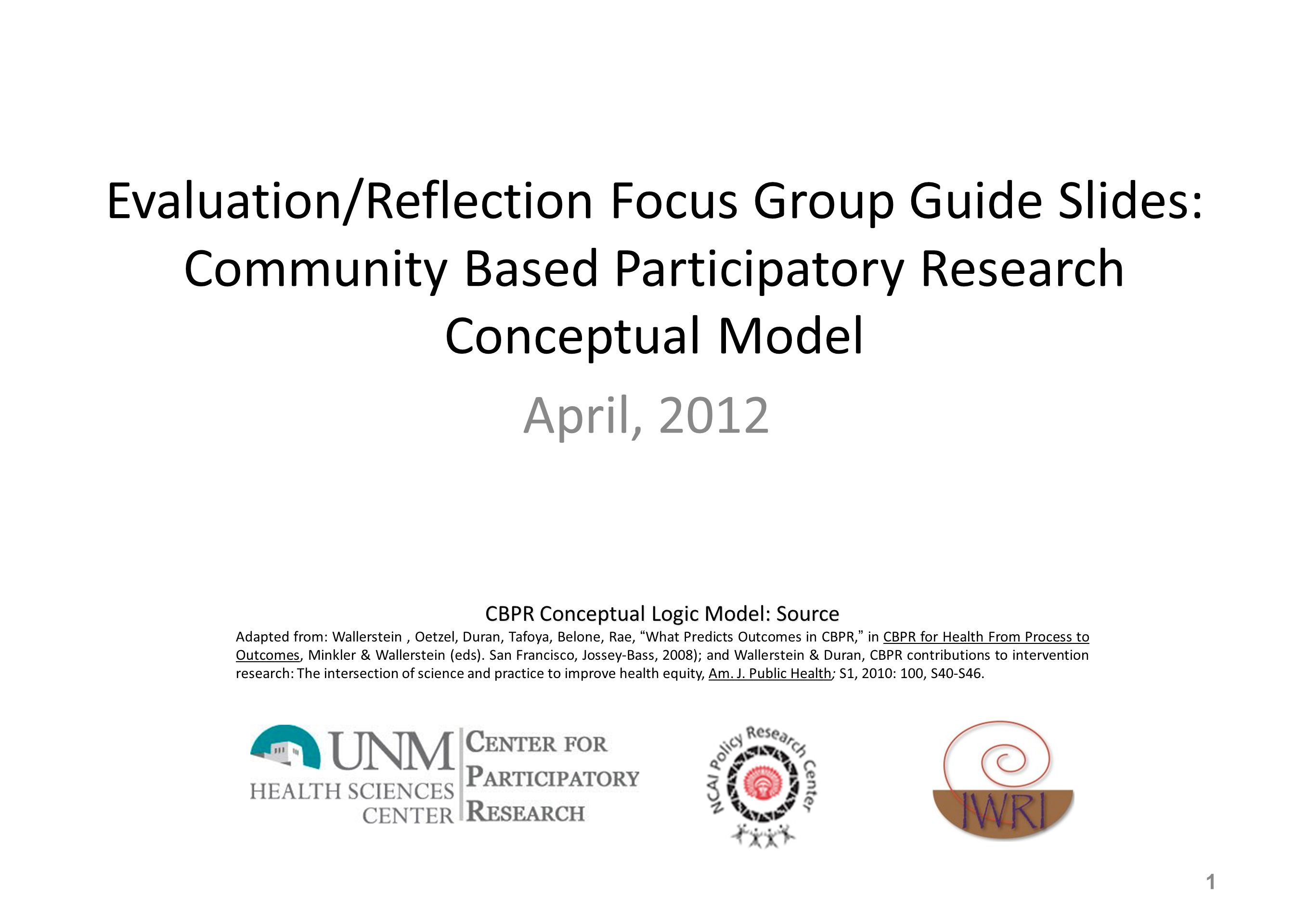 Community based participatory research cbpr evaluation