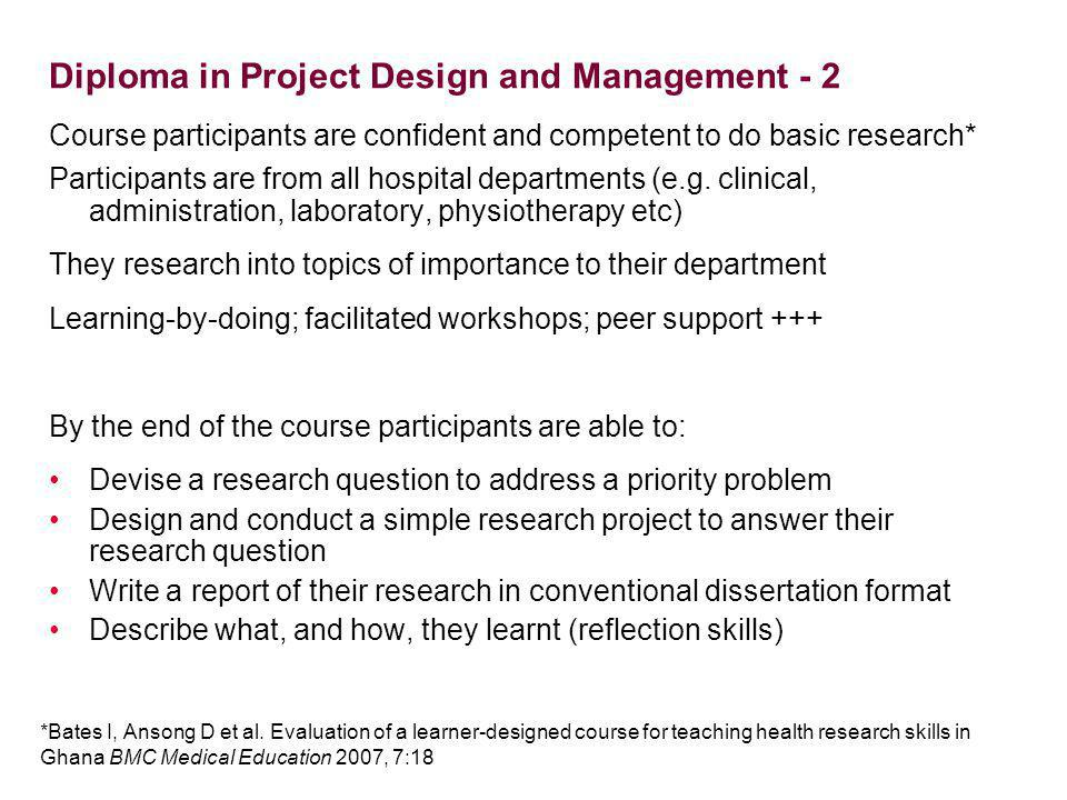 Diploma in Project Design and Management - 2