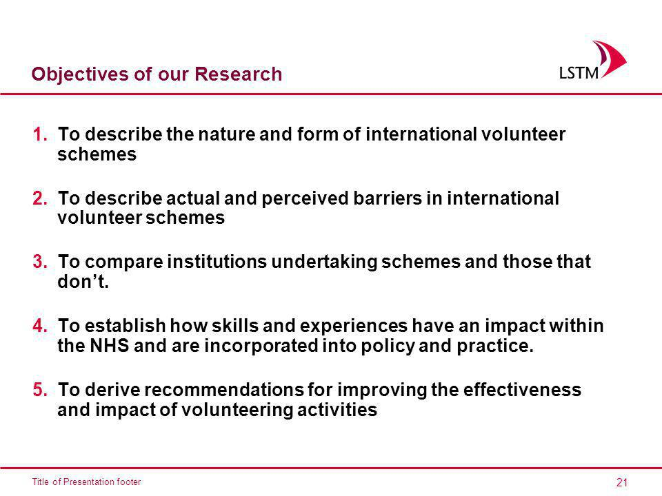 Objectives of our Research