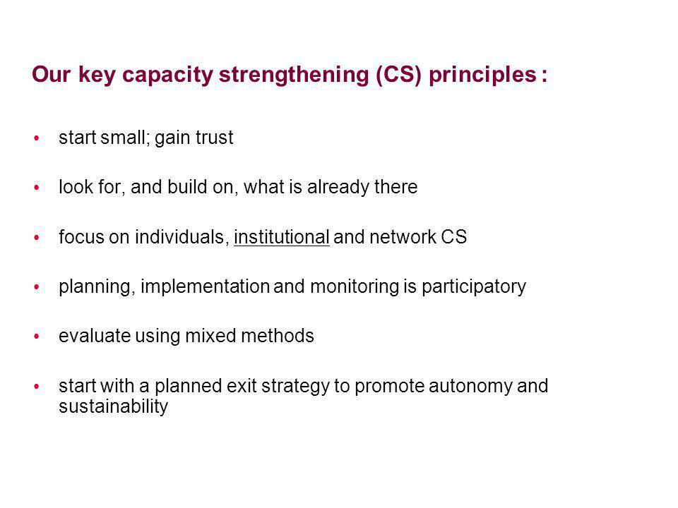 Our key capacity strengthening (CS) principles :