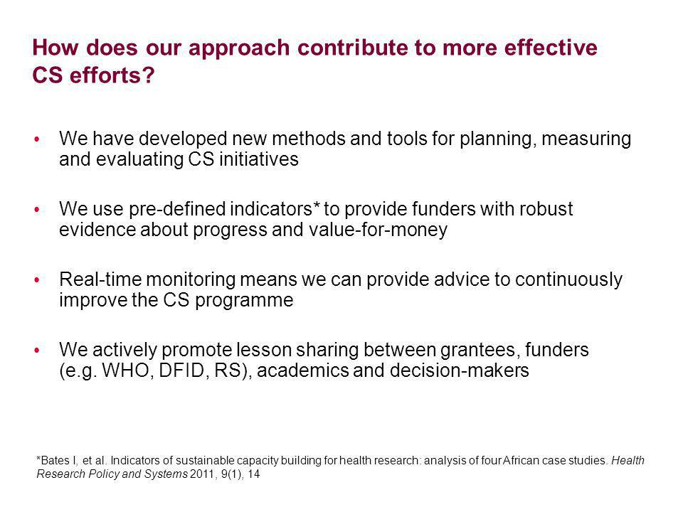 How does our approach contribute to more effective CS efforts