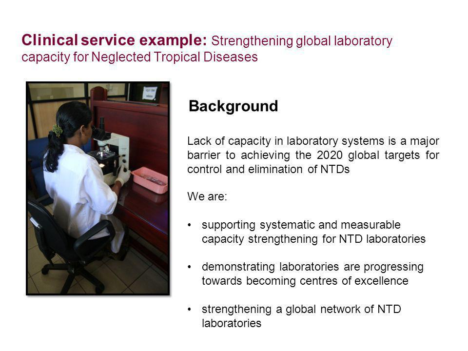 Clinical service example: Strengthening global laboratory capacity for Neglected Tropical Diseases