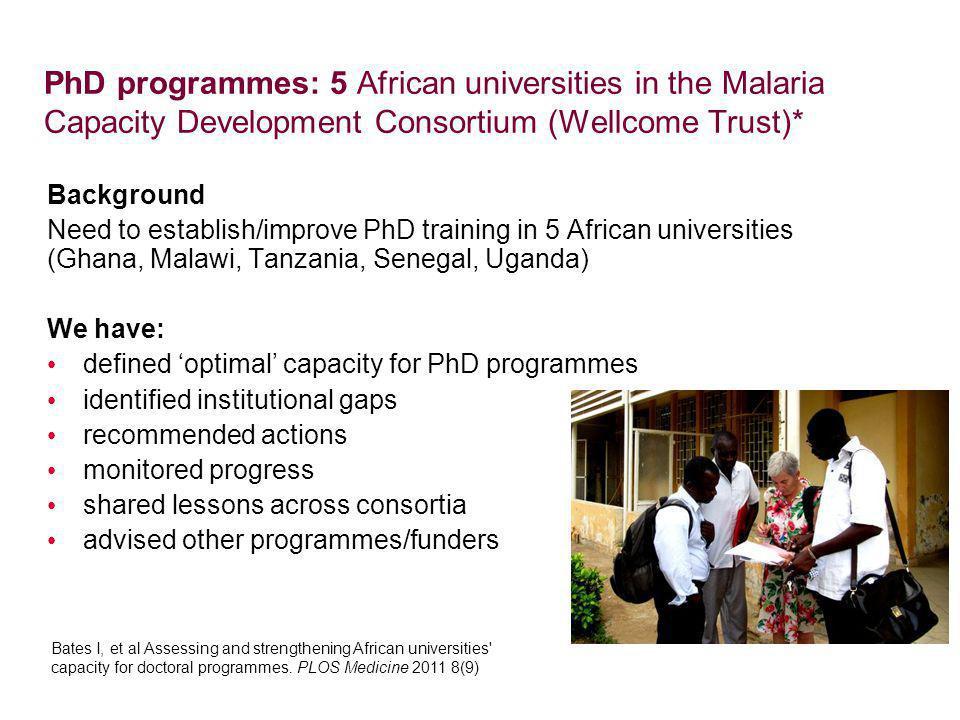 PhD programmes: 5 African universities in the Malaria Capacity Development Consortium (Wellcome Trust)*