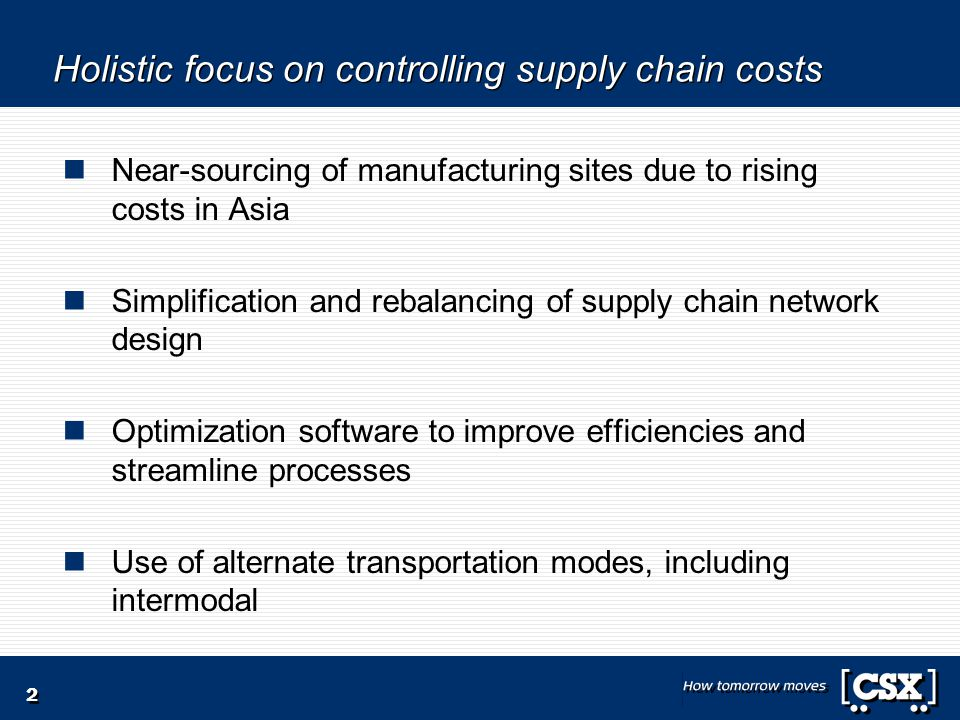Holistic focus on controlling supply chain costs