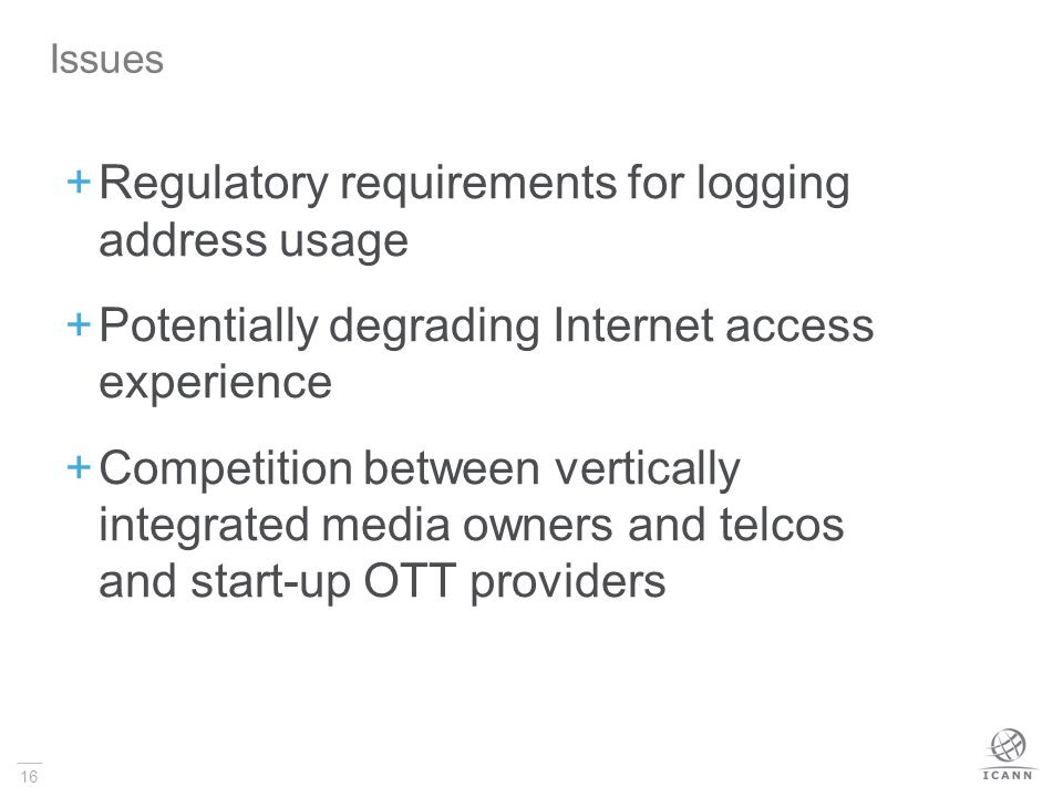 Regulatory requirements for logging address usage