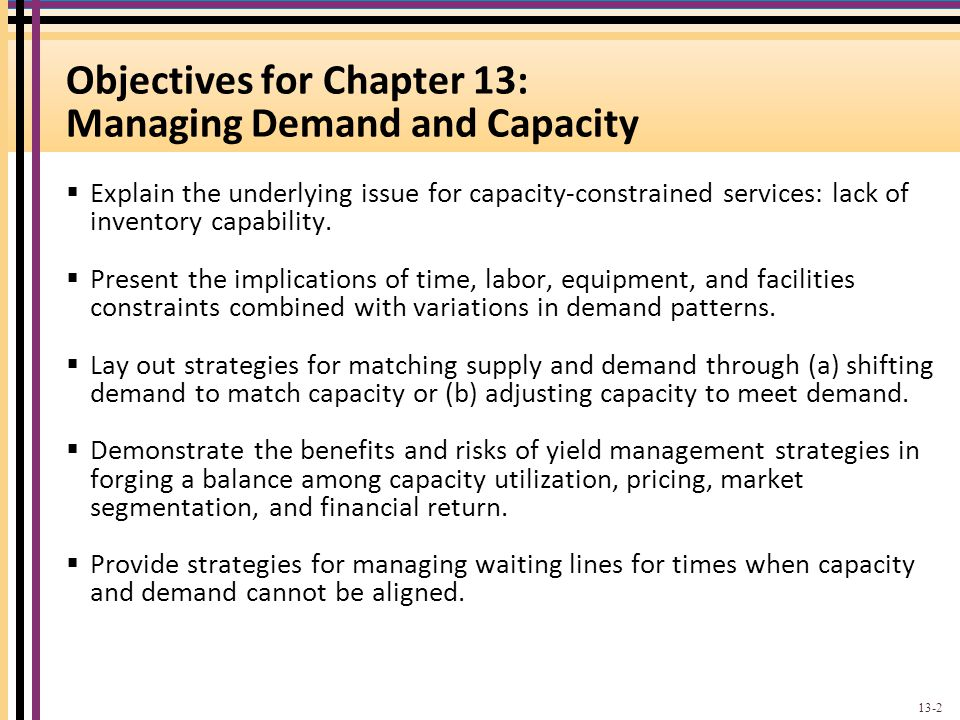 Objectives for Chapter 13: Managing Demand and Capacity