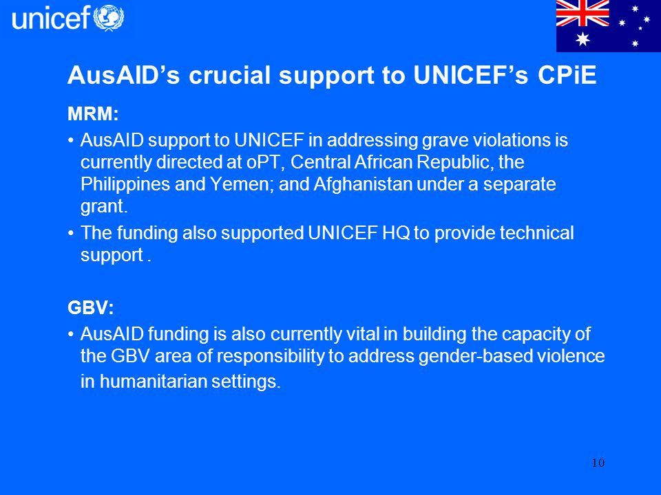 AusAID's crucial support to UNICEF's CPiE