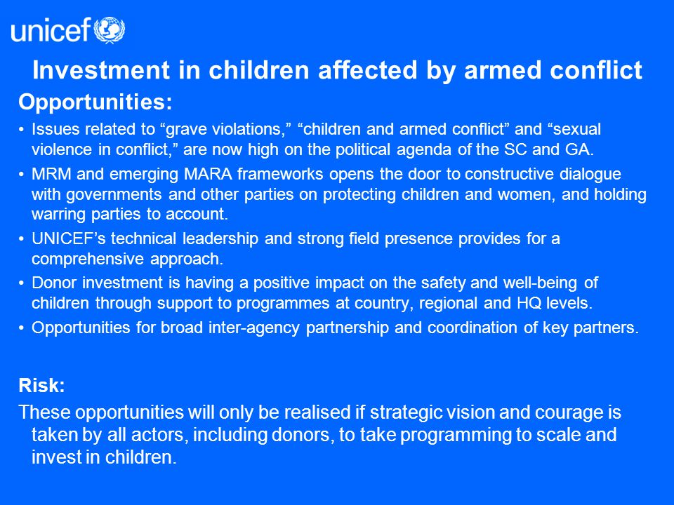 Investment in children affected by armed conflict