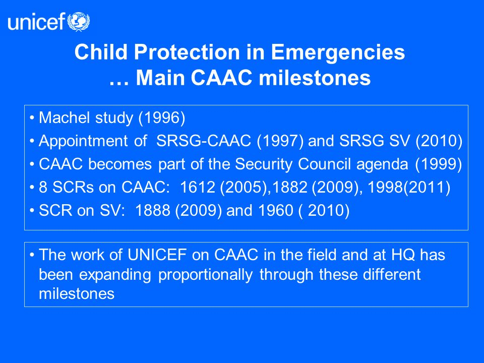 Child Protection in Emergencies … Main CAAC milestones